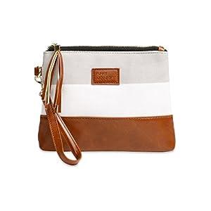 {Madi Collection} Wristlet Wallet Clutch Bag - Phone Purse Handbag - Small, Medium, Large Size - Gray & White Stripe Style, Vegan Bottom Urban- Funky Monkey Fashion (Medium)