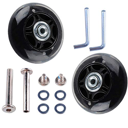- Wadoy Luggage Suitcase Wheels Replacement Kit Parts with Axles Screws Washers Wrenches for Inline Outdoor Skate (70x24mm 2 Sets)