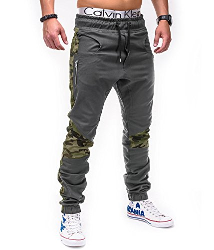 Betterstylz DixonBZ Men´s Chino Jogger Trousers Pants Camouflage Army div. Colors (S-3XL) (30-40) (X-Large, Grey/Camoflage)