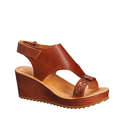 Antelope Womens 517 Leather Low Dark Wrap Sandals Tobacco