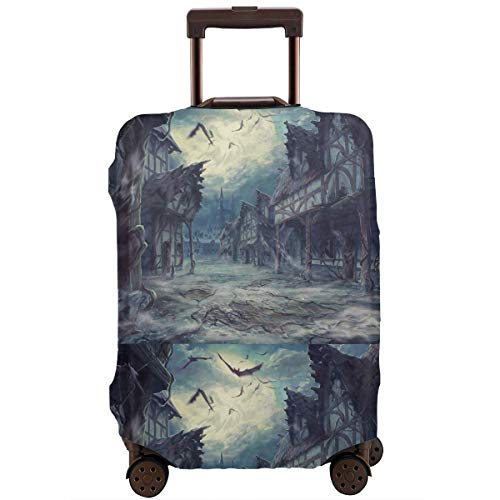 MKJIH Street Clouds Night Moon House Halloween Horror Dark Bats Travel Suitcase Protector Zipper Travel Luggage Cover Baggage Suitcase Protector Cover Fit 18-32 Inch -