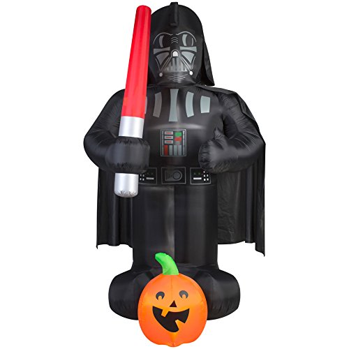 Gemmy Airblown Inflatable Darth Vader Holding a Red Light Saber with a Pumpkin - Indoor Outdoor Holiday Decoration, 9-foot Tall x 5-foot Wide x 4-foot Deep (Card Funny Animated Christmas)