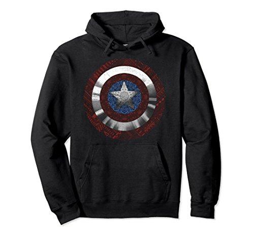 Shield Mens Sweatshirt - Unisex Marvel Captain America Avenger Ornate Shield Graphic Hoodie Medium Black