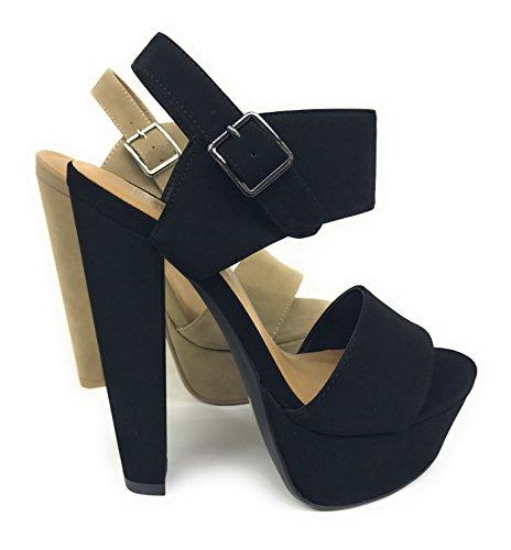 Women's Key Open Toe Ankle Strap Platform Chunky Block Heel Sandal (8.5 B(M) US, Black NB) ()