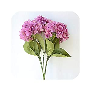 Artificial Flowers Hydrangea Bouquet for Wedding Party Home Decoration Floral 5 Heads Silk Flower Bridal Bouquet,Purple 38