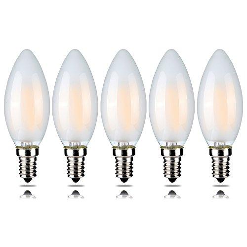 5 Stück 4 W Dimmbar LED Filament Kerze Glühbirne, warmweiß 2700 K, E14 Kandelaber Boden, Flamme Form Bent Tip, entspricht 40 W Glühlampe 5 Stück yt-c35t-4