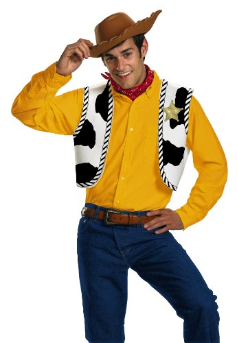 Woody Halloween Costume (Disguise Men's Disney Pixar Toy Story and Beyond Woody Adult Costume Kit, Yellow/Black/White/Brown, One Size)