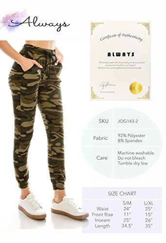 ALWAYS Women Drawstrings Jogger Sweatpants - Skinny Fit Premium Soft Stretch Camo Military Army Pockets Pants S/M by ALWAYS (Image #7)