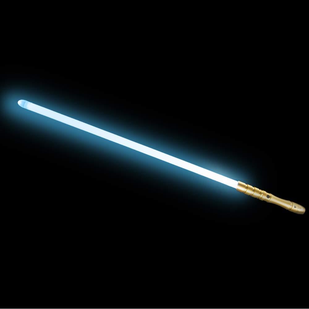 YDD LED Light Saber, Force FX Lightsaber with Sound and Light, Rechargeable Light Up Sword, Metal Hilt, Star Wars Toy for Man Kids(Gold Hilt Iceblue Blade)
