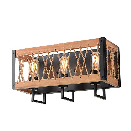 Wood Sconce Rustic - Giluta Rustic Wall Sconce Farmhouse Style Wood Wall Lighting Fixtures 3-Lights Rectangle Wall Lamp for Bedroom Headboard Bathroom Foyer Door Porch with Hemp Rope Net, Black (W0055)