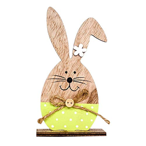 - FRECI Easter Rabbit Bunny Desktop Decoration Ornament Wooden Painting Bunny Easter Holiday Table Decoration - Green
