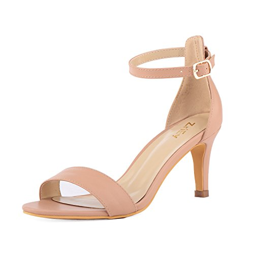 ZriEy Women's Heeled Sandals Ankle Strap High Heels 7CM Open Toe Mid Heel Sandals Bridal Party Shoes Nude Size 8