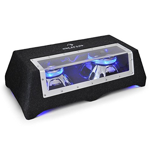auna C8-Sub 2x12 LED • Subwoofer • Double Subwoofer • Car Hi-Fi Dual Subwoofer • 30 cm (12') • 90 dB • 2 x 800 W max • 2 x 400 W RMS • LED Light Effect • Plexiglass panel • incl. Cable • black