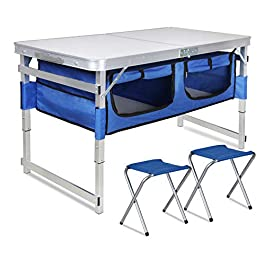 Folding Camping Table with Storage – Portable Outdoor Aluminum Picnic Tables with Organizer and 2 Chairs, 3 Adjustable…