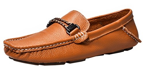TDA Penny Mens Leather Driving Boat Comfort Shoes Loafers Bronze Casual FZ6FAx
