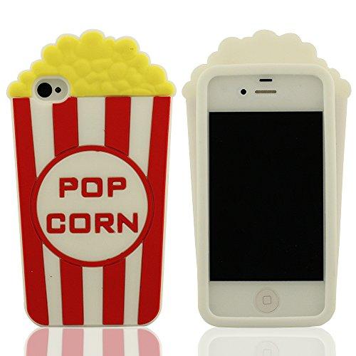 Besondere Pop Corn Modellieren Silikon Gel Hülle Case Cover Kompatibel mit iPhone 4 / iPhone 4S / iPhone 4G, Weiß Farbe Weich