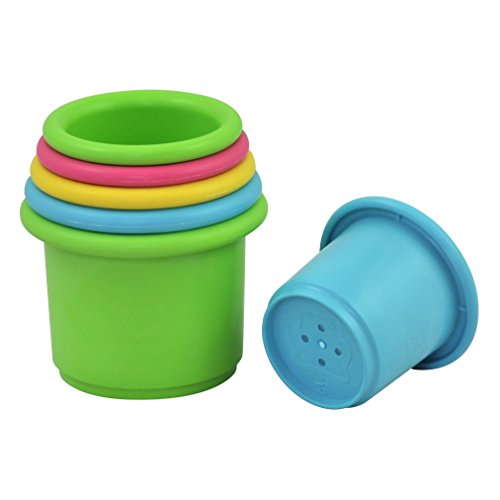 (green sprouts Sprout Ware Stacking Cups made from Plants (6 cups) | Encourages whole learning the healthy & natural way | Fun for bath, pool, water, & sand play, Holes for sifting & sprinkling)