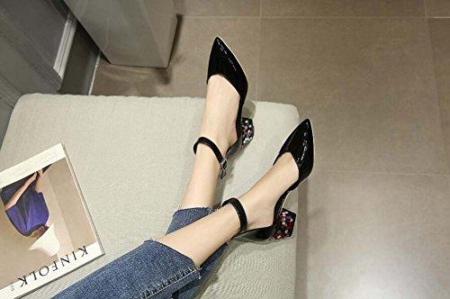 Nuevo De Zapatos Grueso Acentuados Black Verano Rhinestone Pie Cuero Hueco Superiores Mujer Con Vendaje Sandalias rErqpxOdP