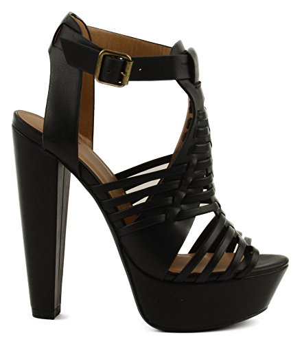 Delicious Freedom Womens High Platform Stacked Heel Sandal with Strap Black 1qT9ppM