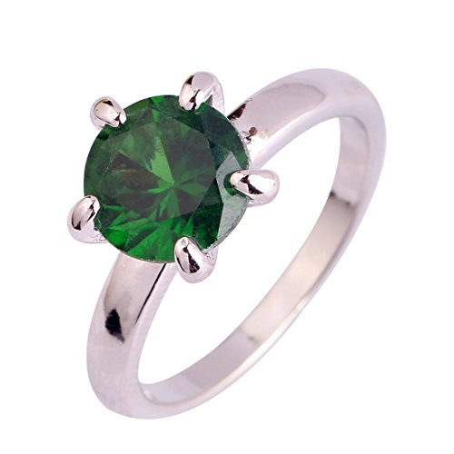 Psiroy 925 Sterling Silver Created Emerald Quartz Filled Solitaire Engagement Ring Size 7