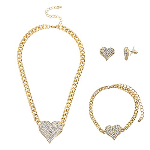 Cheap Accessories (Lux Accessories Goldtone Bling Heart Chain Earring Bracelet Necklace Set (3PCS))