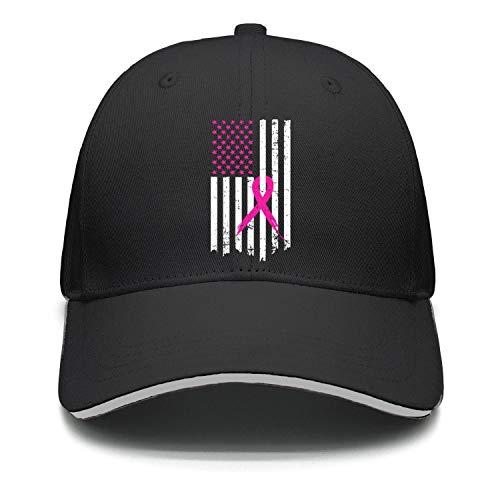 Men Women Golf Cap Lightweight Pink Ribbon Breast Cancer Awareness Flag
