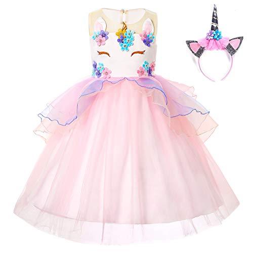 Girls Unicorn Dress Birthday Party Princess Dresses for Little Girls Unicorn Tutu Costume Outfits 150cm Pink2 -