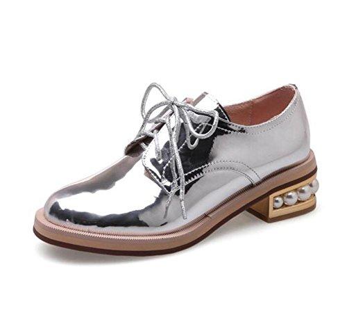 36 Tamaño Pearl de 41 a Zapatos Heel Cordones Suela Charol Oxford Silver mujer 1Rnxwq8z
