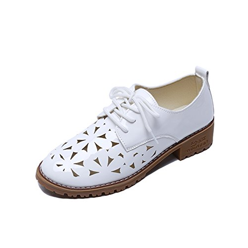Britischer Wind Round Head Casual Shoes,Oxford-schuhe,Middle School Wind Patent Leather,Damenschuhe A