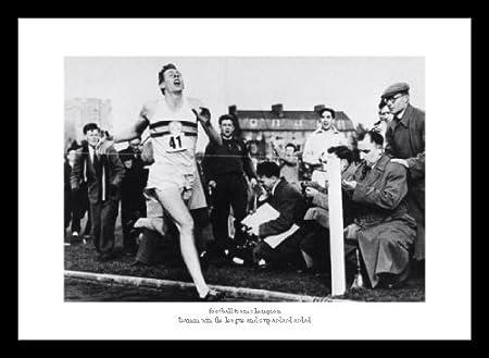 Framed Roger Bannister Breaks 4 Minute Mile Athletics Photo Memorabilia