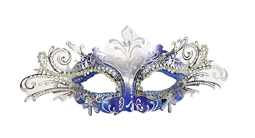 Blue Silver Laser Cut Half Mask Clear Crystal Glitter Costume Accessory Adult ()