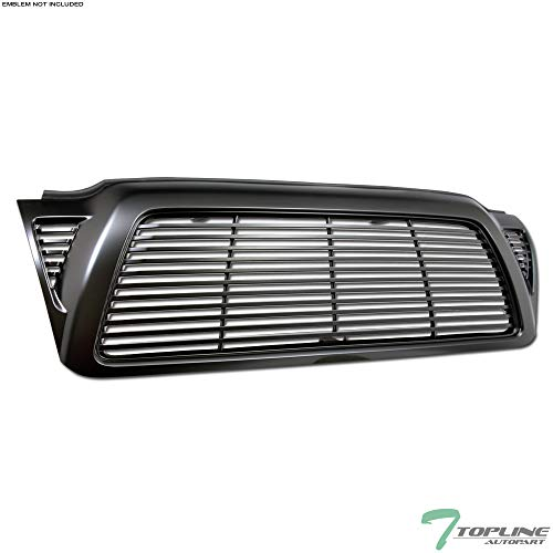 Topline Autopart Matte Black Horizontal Front Hood Bumper Grill Grille ABS For 05-11 Toyota Tacoma