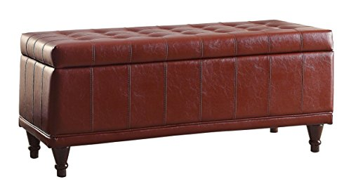 Homelegance Lift Cushioned Top Storage Bench with Tufted Accents Faux Leather, Red - Antique French Bench