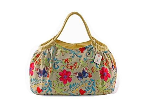 PE FLORENCE Shopper Pleats BUTTERFLY & FLOWER natur, Strandtasche Badetasche