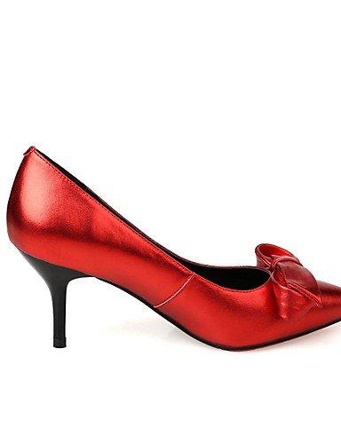 GGX/Damen Schuhe Rindsleder Sommer/Herbst Heels/spitz Toe Heels Büro & Karriere/Casual Trichterabsatz Schleife rot/grau red-us6 / eu36 / uk4 / cn36