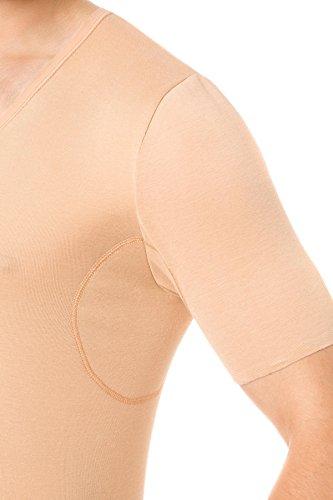 Hautfarbenes Unterhemd / Herrenunterhemd unsichtbar V-Ausschnitt mit Schweißblättern