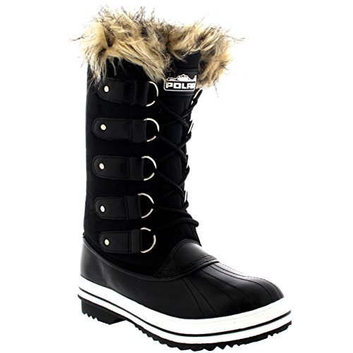 Womens Shoe Winter Sole Rain Lace up Waterproof Cuff Snow Boots Tall Black Rubber Nylon POLAR 4df1ax4