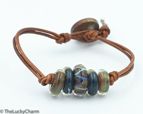 - The Lucky Charm - Art Glass (lampwork) Bead Bracelet - Copper Green and Blue Tones - Leather - Vintage Button