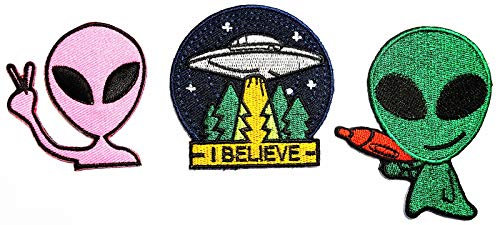 Nipitshop Patches Set Pink Alien I Believe Fantasy UFO Patches for Clothes Backpacks T-Shirt Jeans Skirt Vests Scarf Hat Bag Iron On Appliques Embroidered