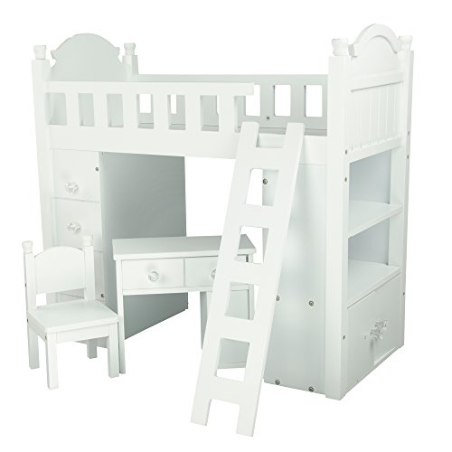 Olivia's Little World - Sweet Girl White Bunk Bed | Wooden 18 inch Doll Furniture