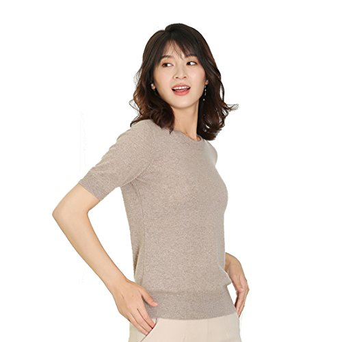Panreddy Women's Cashmere Knitted Crewneck Short Sleeve Sweaters HA02