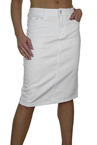 (2515-2) Denim Jeans Rock Weiß
