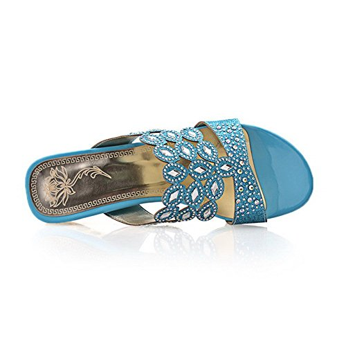 Material heels Pull on Toe AllhqFashion Open Sandals Women's Blue Solid Soft Low waAqTqEI