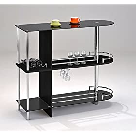 Kings Brand Furniture Bar Table with Two Tempered ...