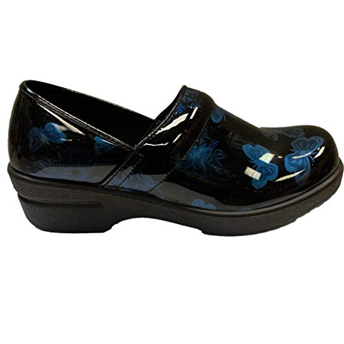 Savvy Women's Slip Resistant Nursing & Professional Slip On Clogs (9, Black Butterfly)