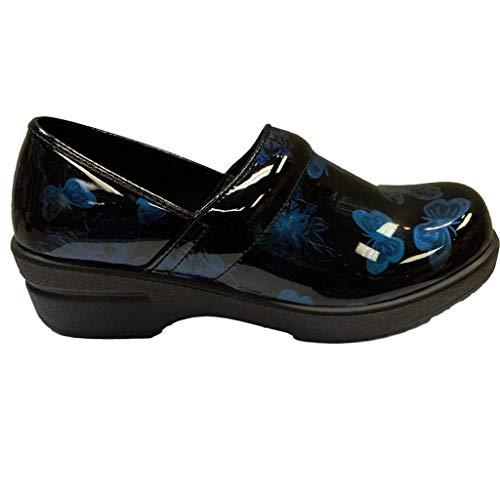 Savvy Women's Slip Resistant Nursing & Professional Slip On Clogs (9.5, Black Butterfly)
