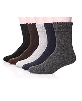 yunshuo Hombres Super gruesa cálido confort lana - Calcetines Invierno (5-Pack, colores mezclados: Amazon.es: Coche y moto