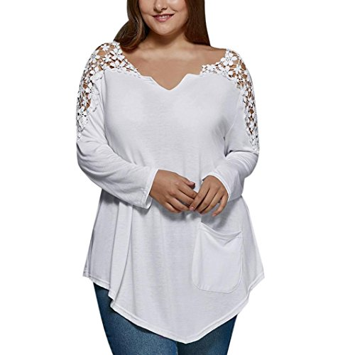 KESEE-Clearance-Plus-Size-Shirt--Plus-Size-Tops-Womens-Lace-Tops-Loose-BlouseV-Neck-Long-Sleeve-T-Shirt-XL-5XL