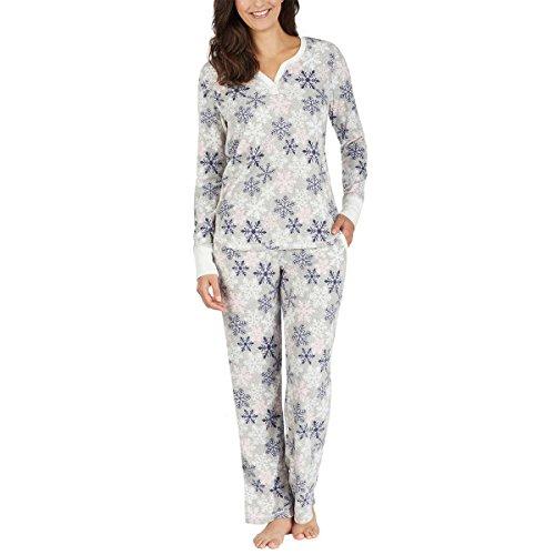 (Nautica Womens 2 Piece Fleece Pajama Sleepwear Set (Medium, Grey Snowflakes))