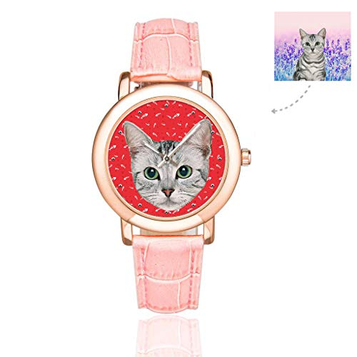 Custom Photo Cat Kitten Pet Watch with Face Fish Bones Cat Dog Tracks Paws Red Pattern Wrist Watches for Women/Girlfriend/Wife ()